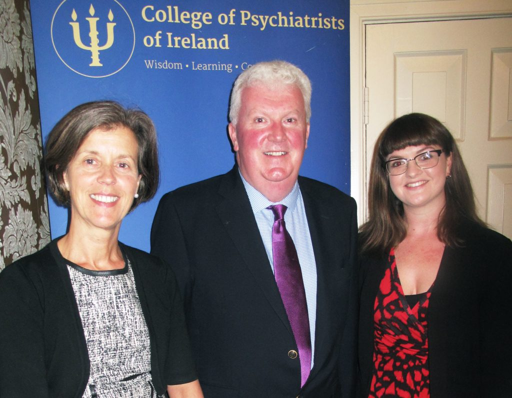 Rosie Plunkett with two senior members of the college